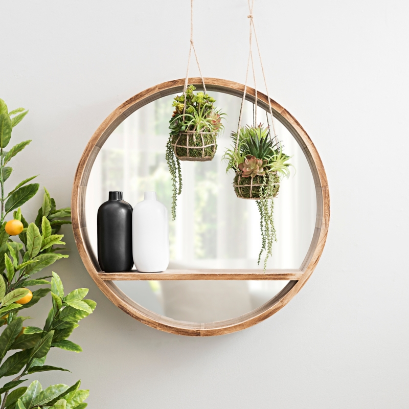 Round Wood Shelf Wall Mirror