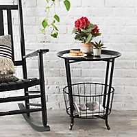 Black Side Table with Basket Bottom