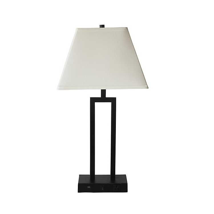 Bronze Metal Table Lamp With Outlet And