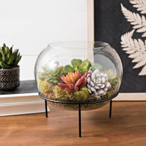 Clear Glass Bowl with Black Metal Stand