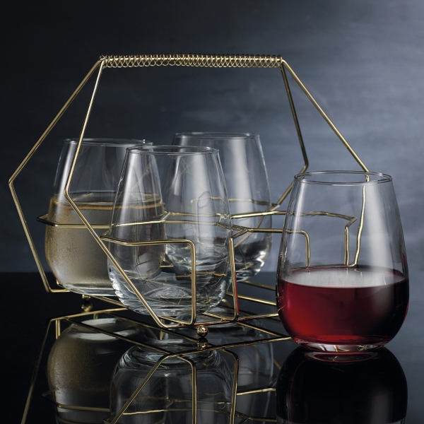 Set of 4 Stemless Wine Glasses with Gold Caddy