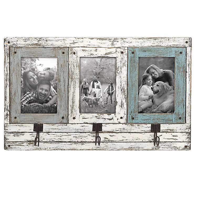 Rustic 3-Opening Collage Frame with Hooks | Kirklands