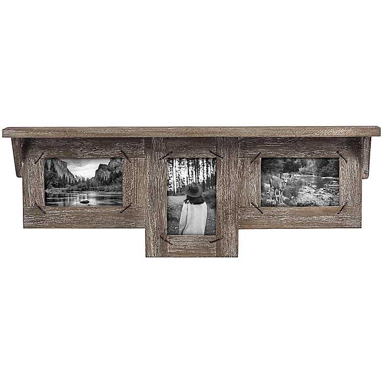 Weathered Wood 3-Opening Collage Frame with Ledge   Kirklands