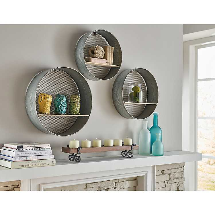 Round Wood And Metal Wall Shelves Set