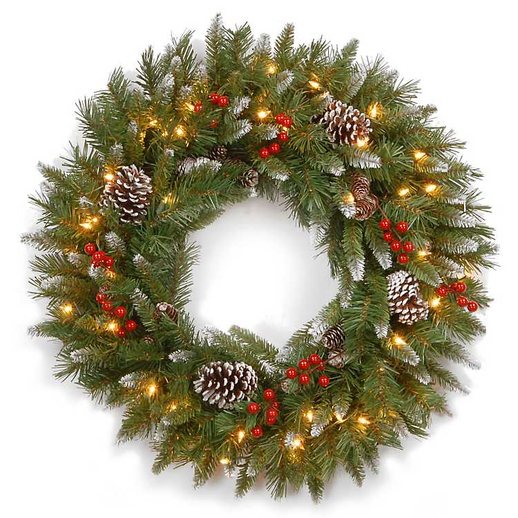 Pre-Lit Frosted Berry Christmas Wreath, 24 in. | Kirklands
