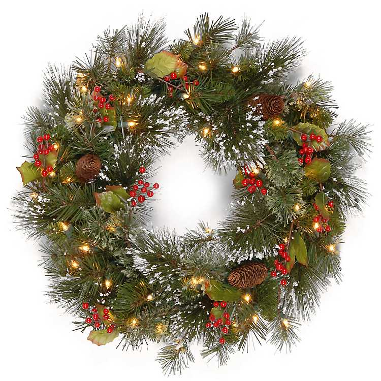 Prelit Christmas Wreath.Product Details New Pre Lit Wintery Pine And Berry Christmas Wreath