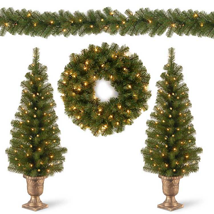 Christmas Greenery.Pre Lit Natural Pine 4 Pc Christmas Greenery Set