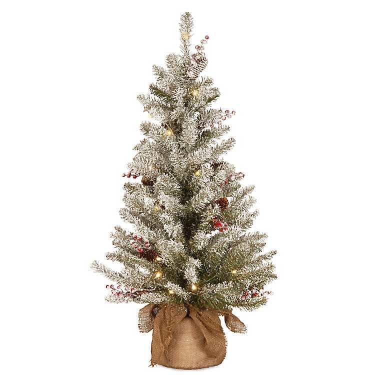 Product Details. 3 ft. Pre-Lit Burlap Base Flocked Christmas Tree