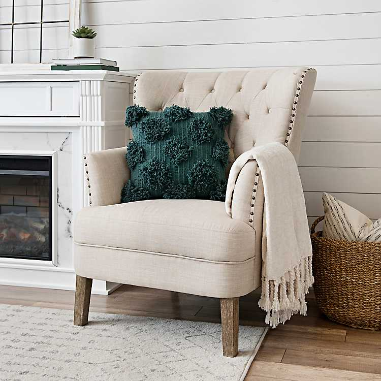 Cream Tufted Accent Chair with Nailhead Trim