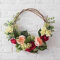 Pink Peony and Hydrangea Half Wreath