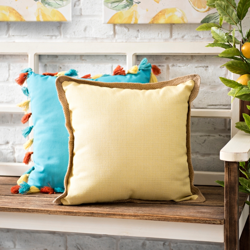 Yellow Jute Trim Pillow
