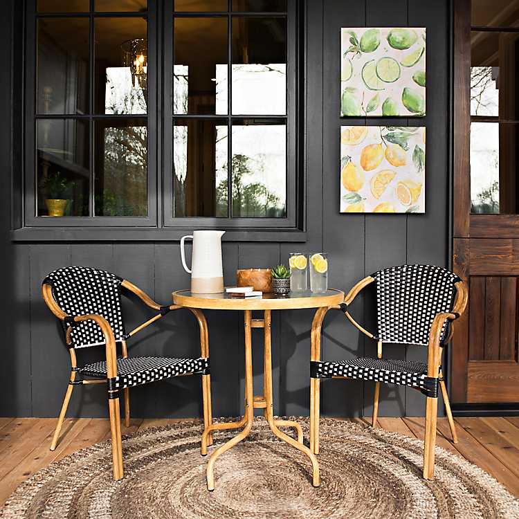 Astonishing Black And White 3 Pc Wicker Bistro Set Inzonedesignstudio Interior Chair Design Inzonedesignstudiocom