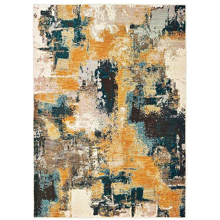 Gold Boho Abstract Area Rug, 5x8