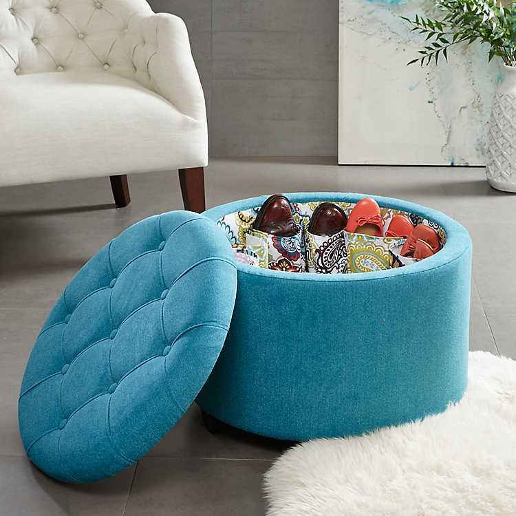 Melinda Round Turquoise Storage Ottoman