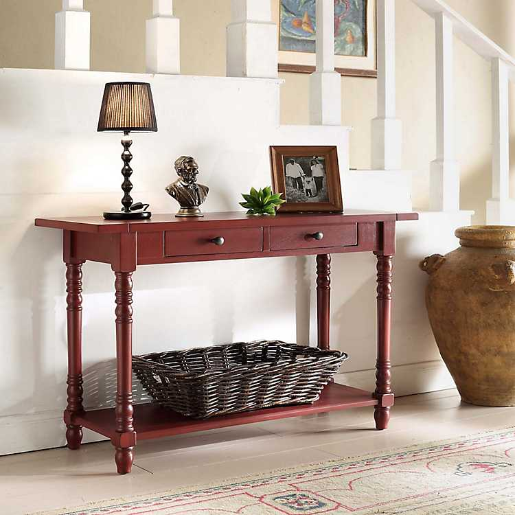 Marvelous Red Delilah Console Table Squirreltailoven Fun Painted Chair Ideas Images Squirreltailovenorg