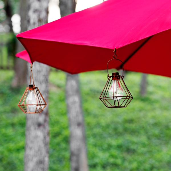 Set of 2 Red Umbrella Clip Solar Lights