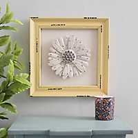 Pale Yellow Framed Flower Wall Plaque