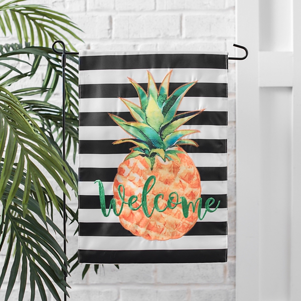 Striped Pineapple Welcome Flag Set