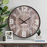 Knox Dark Wood Dial Wall Clock