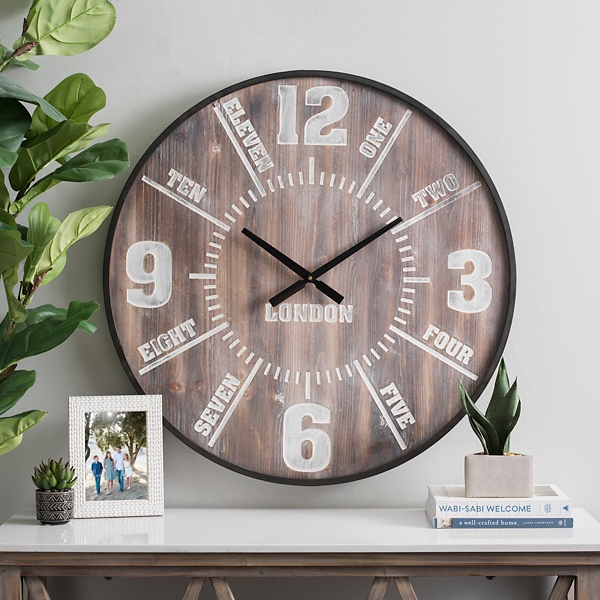 Knox Dark Wood Dial Wall Clock