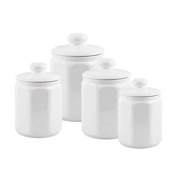 White Ceramic Panel Canisters Set Of 4