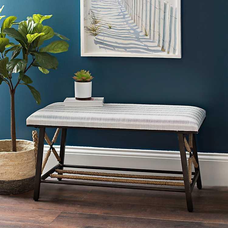 Enjoyable Blue Striped Bench With Rope Wrapped Legs Creativecarmelina Interior Chair Design Creativecarmelinacom