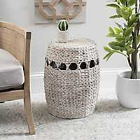 White Washed Rattan Drum Side Table