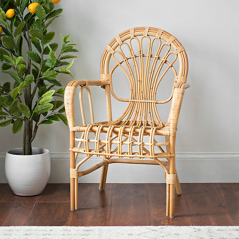 Curved Natural Rattan Accent Chair