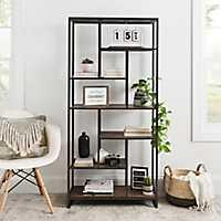 Wood and Metal Abstract Tier Shelf