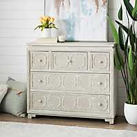 Carved Wood 5-Drawer Chest