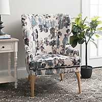 Velvet Print Blue Accent Chair