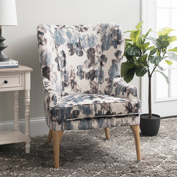 Velvet Print Blue Accent Chair