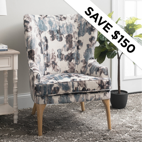Save $150 - Velvet Blue Accent Chair - Was: $499.99 - Now $349.99