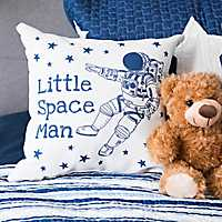 White and Navy Little Space Man Reversible Pillow