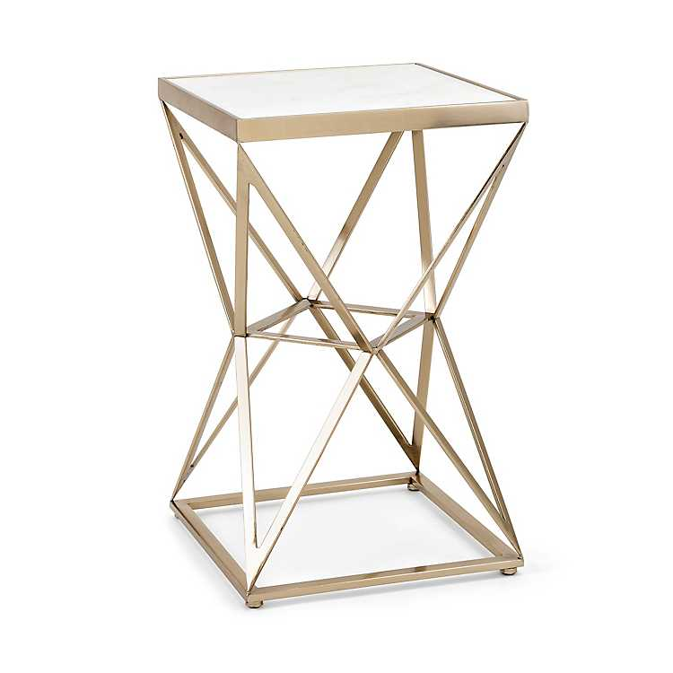 sale retailer 7c019 c7edc Product Details Gold Geometric Hourglass Accent Table