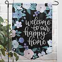 Welcome to Our Happy Home Floral Flag Set