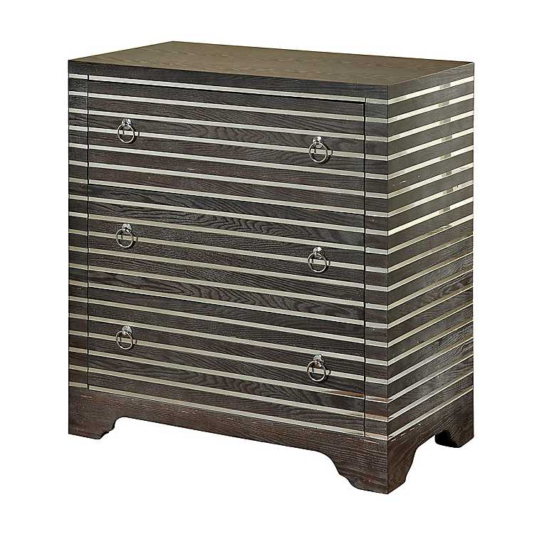 Product Details Gray Ash 3 Drawer Chest With Mirror Strips