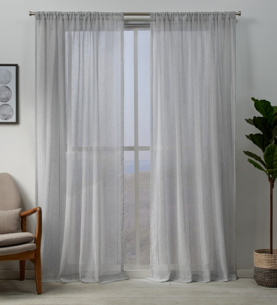 Silver Sheer Hemstitch Curtain Panel Set