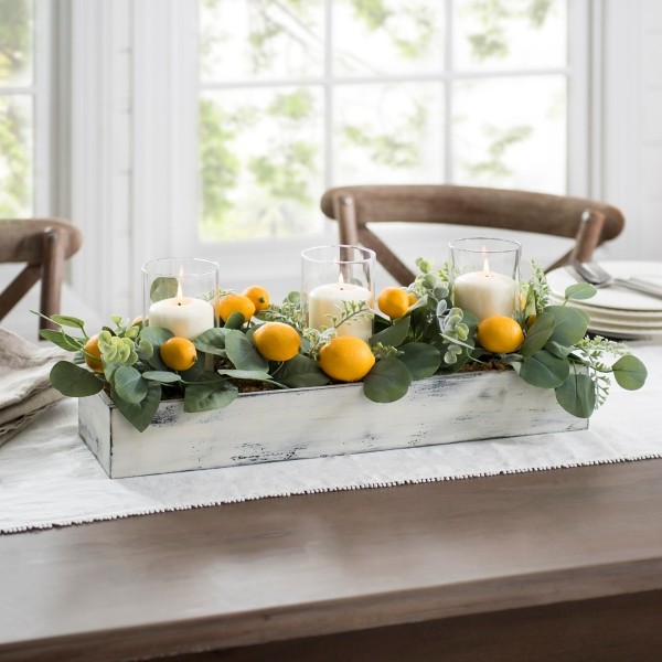 Lemon and Eucalyptus Candle Centerpiece