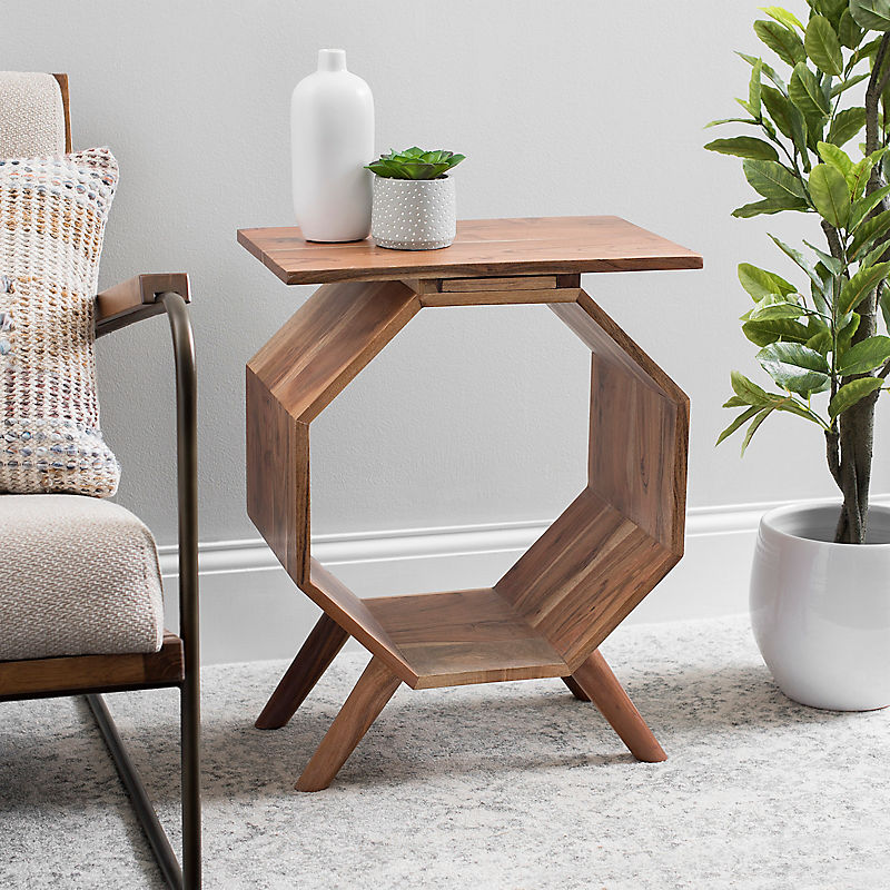 Acacia Wood Octagon Side Table with Drawer