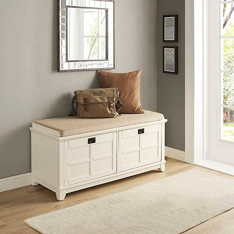 Miraculous Addy White Finish Entryway Storage Bench Beatyapartments Chair Design Images Beatyapartmentscom