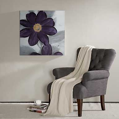 Midnight Bloom Plum Hand Embellished Canvas Print