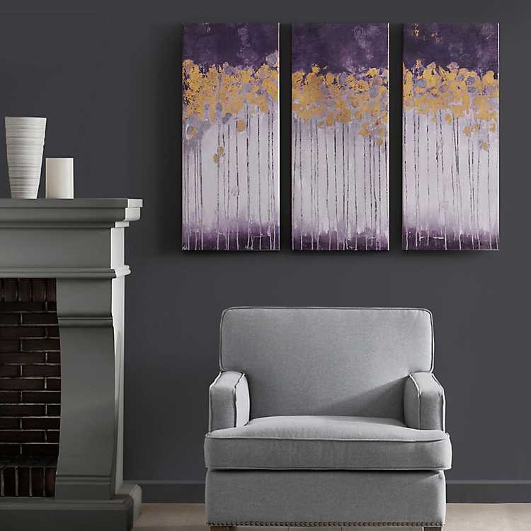 Violet Midnight Forest Canvas Art Prints Set Of 3