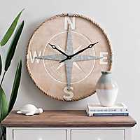 Natural Wood and Rope Compass Dial Clock