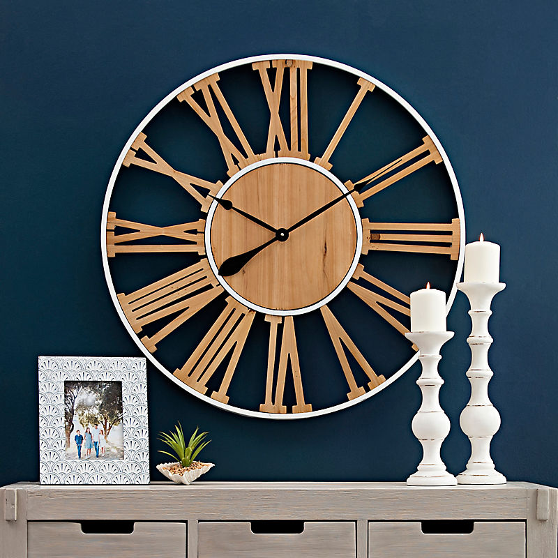 Cut-Out Natural Wood Clock