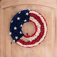 Round Woodchip Flag Wreath