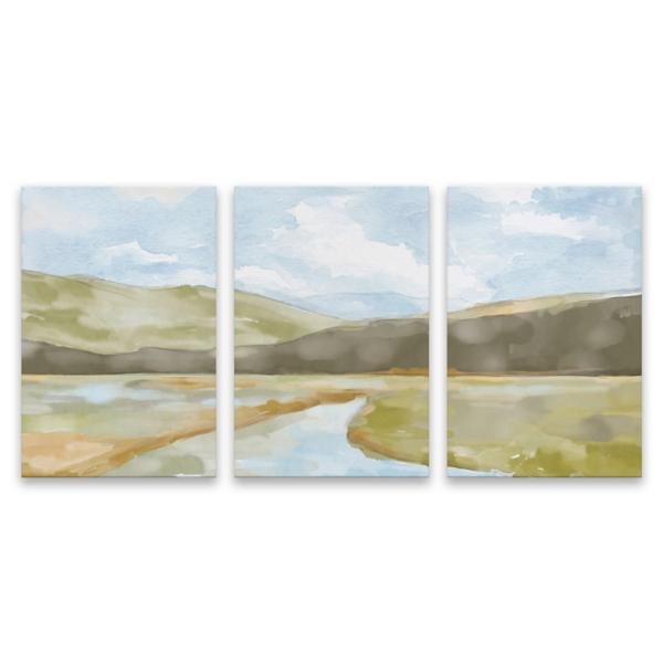 Watercolor Landscape Canvas Art Prints, Set of 3   Kirklands