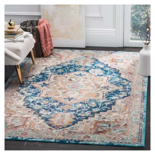 Blue and Tan Arkin Transitional Area Rug
