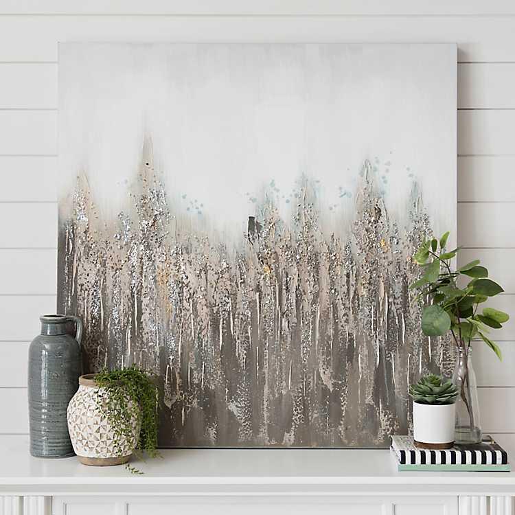 Smoky Blues Earth Tone Canvas Art Print