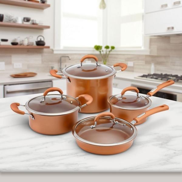 Copper Aluminum Non-Stick 8-piece Cookware Set
